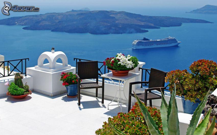terrass, havsutsikt, ö, båt