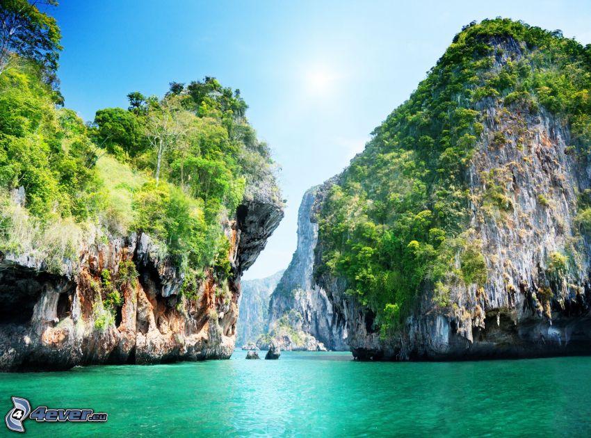 Thailand, klippor i havet, azurblå hav, vik