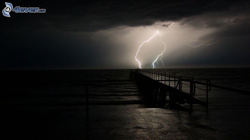 träbrygga, hav, storm