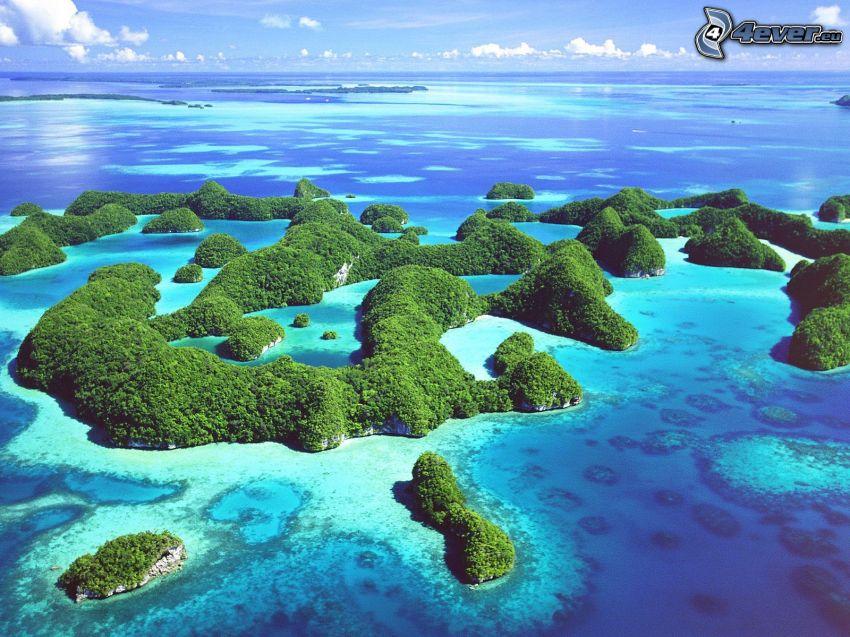 tropiska öar, azurblå hav