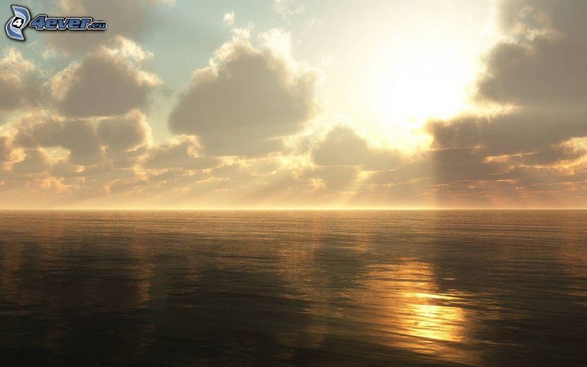 vacker morgon, ocean, solstrålar