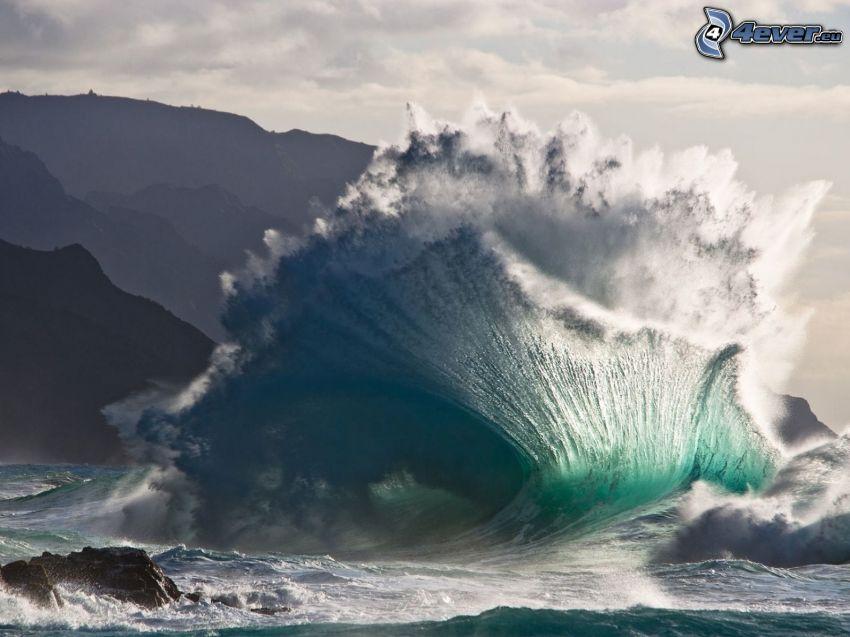våg, hav, kullar