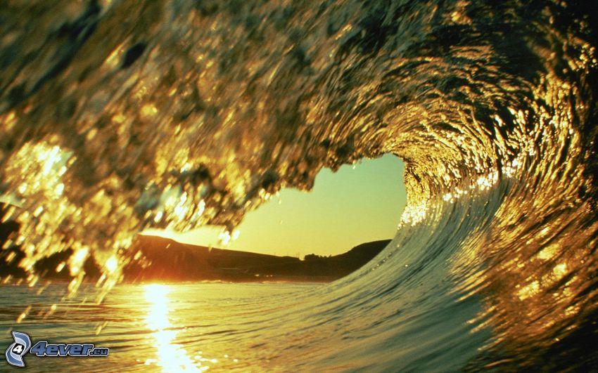 våg, hav, solnedgång