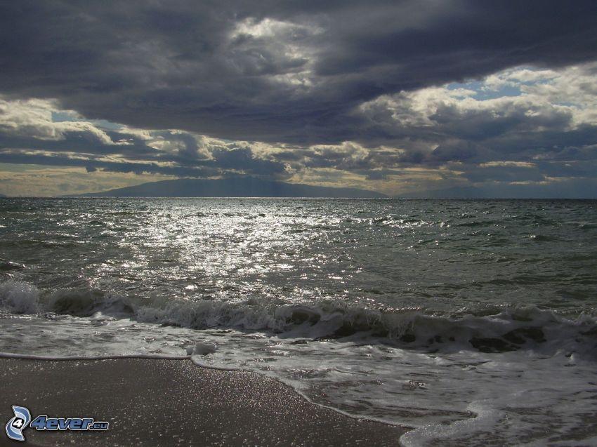 vatten, ö, himmel, moln, strand, våg