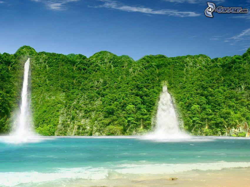 vattenfall, hav, skog, djungel