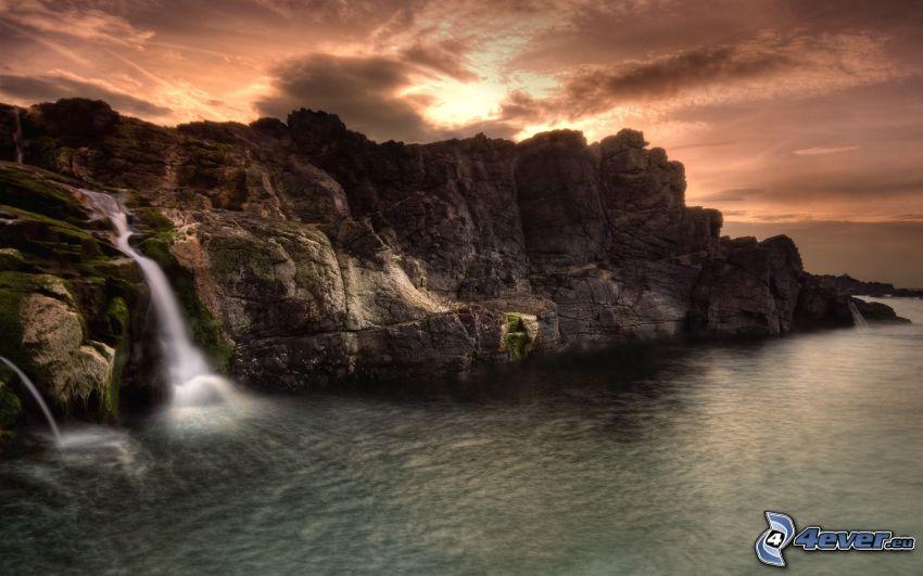 vattenfall, klippor, hav, HDR