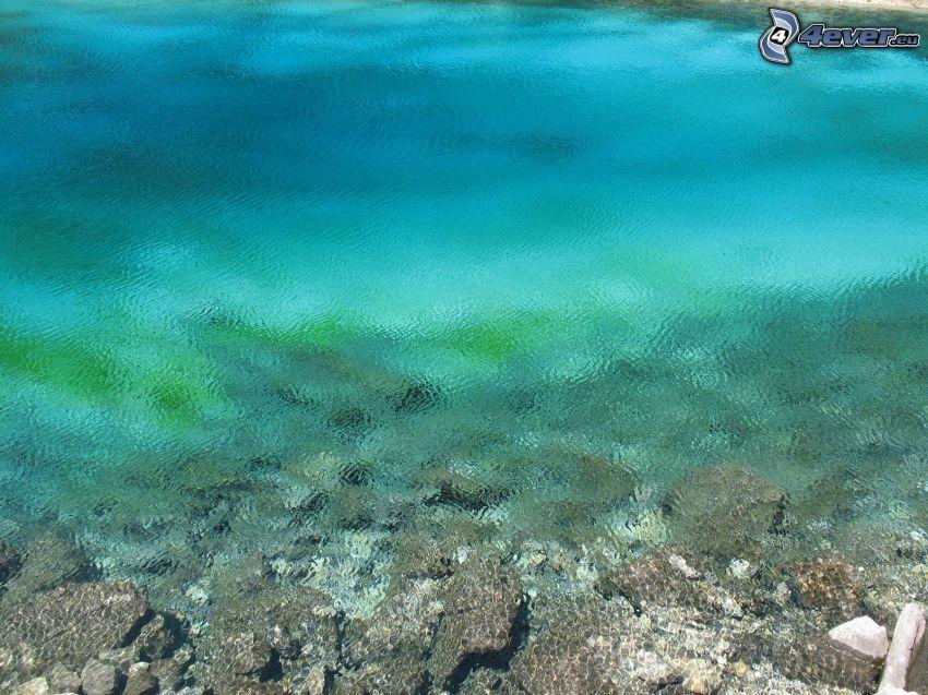 vattenyta, azurblå hav