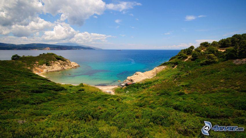 vik, azurblå hav, kust, grönska
