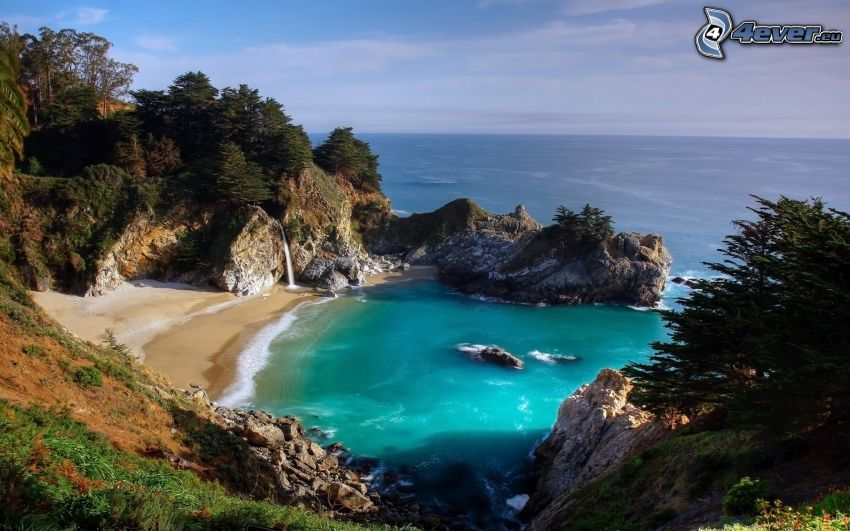 vik, strand, klippor vid kusten, havsutsikt