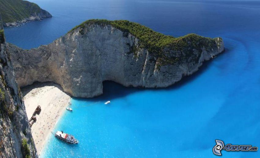 vik på ön Zakynthos, Grekland, azurblå hav