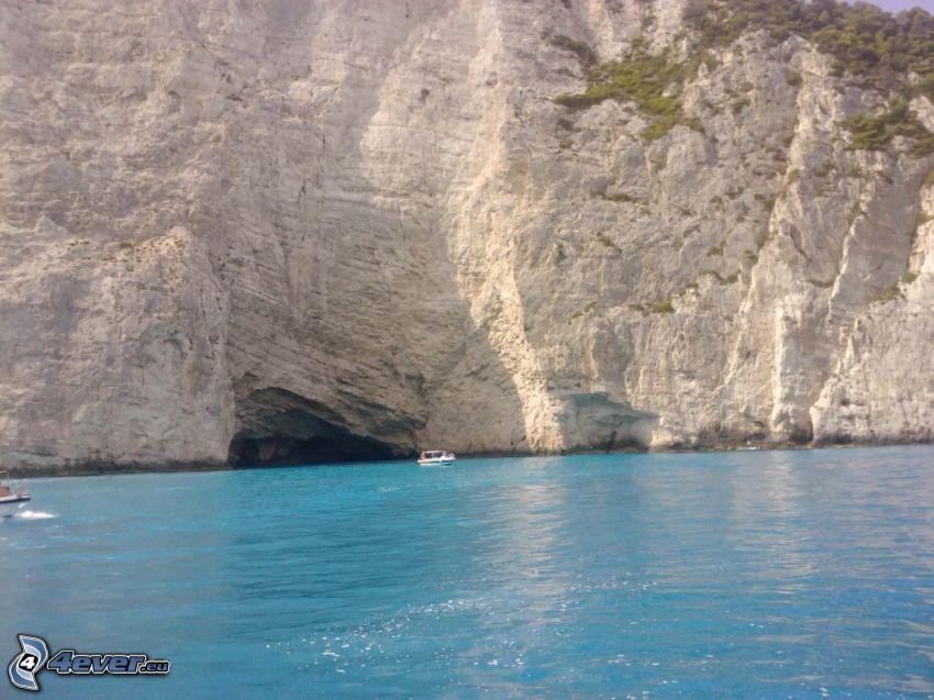 Zakynthos, klippor vid kusten, klippa, azurblå hav