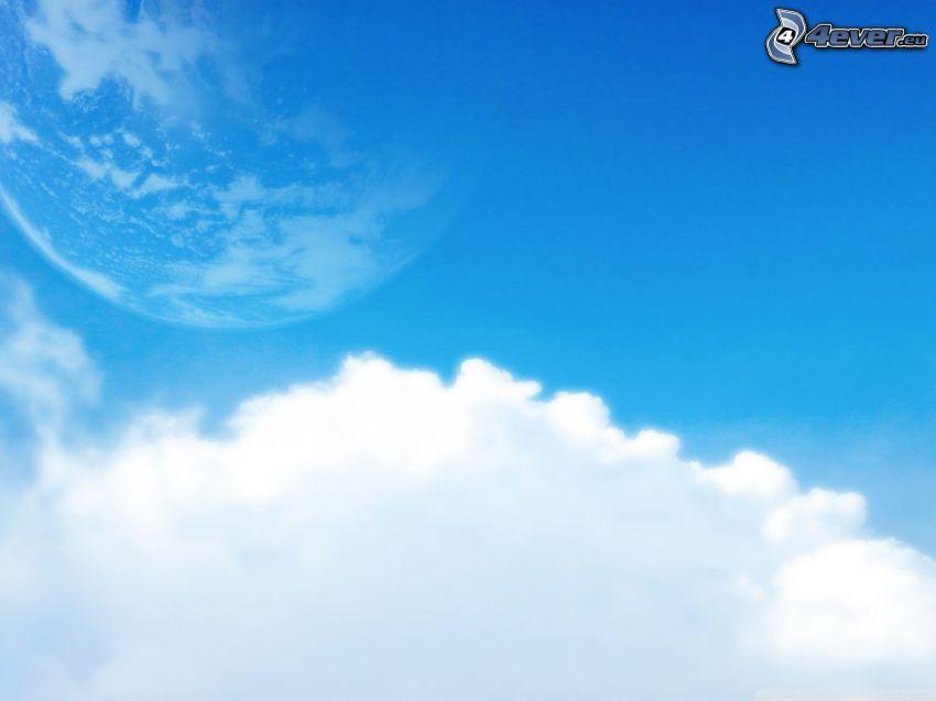blå himmel, planet, moln