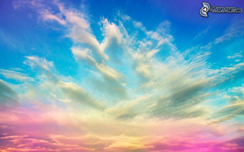 färggrann himmel, moln