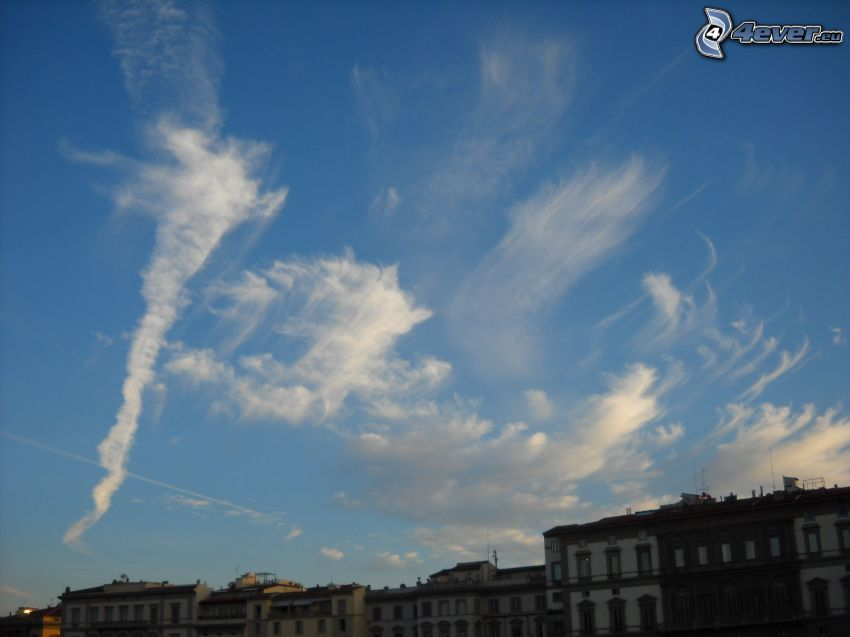 himmel, moln, byggnader