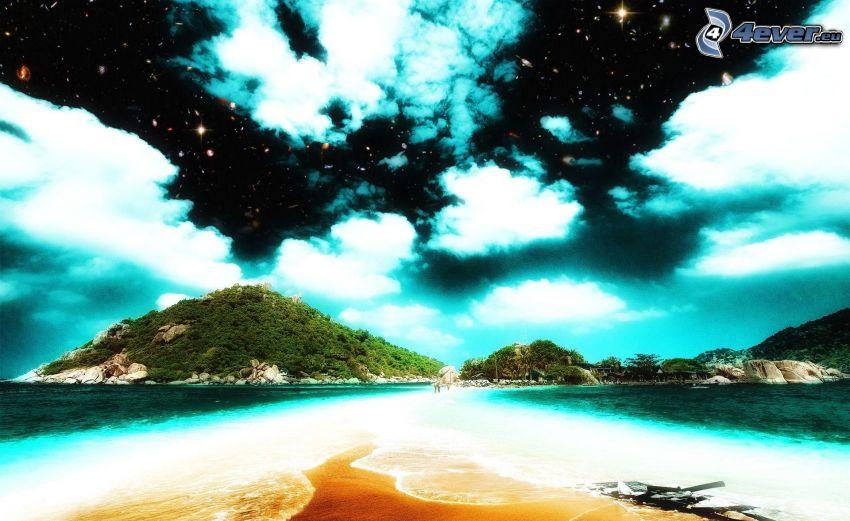 himmel, stjärnor, ö, kulle, hav