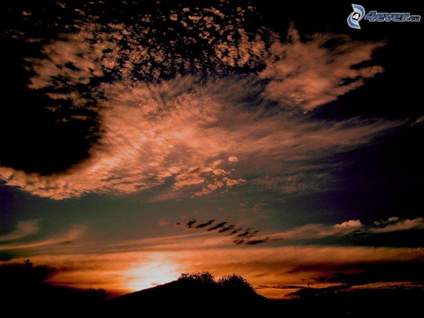kvällshimmel, solnedgång