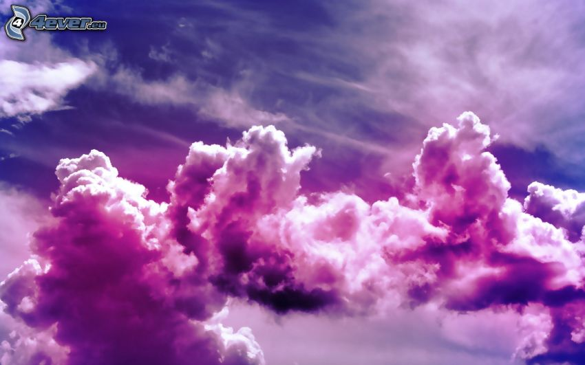 lila himmel, moln