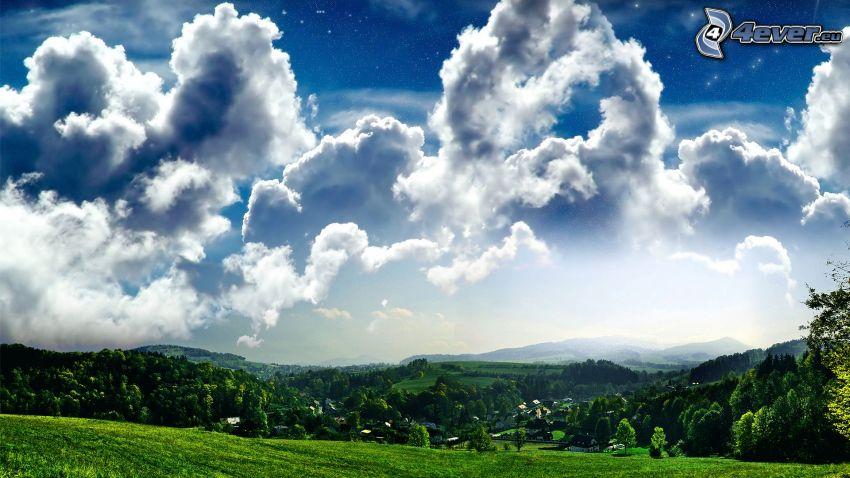 moln, landskap