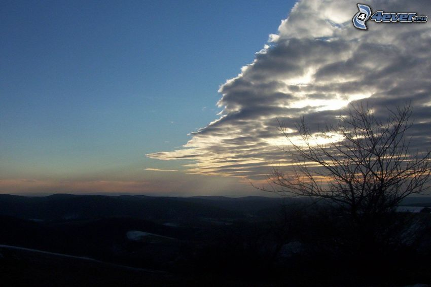 moln, natur, berg