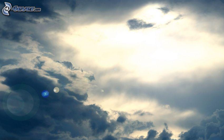 moln, solsken, svag sol