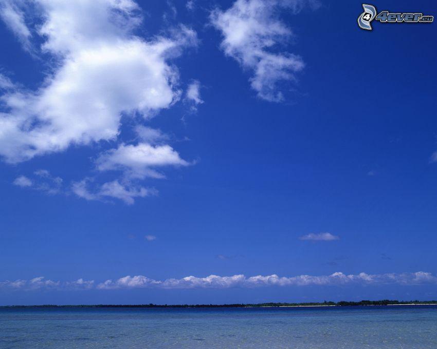 moln över havet, himmel, hav, kust