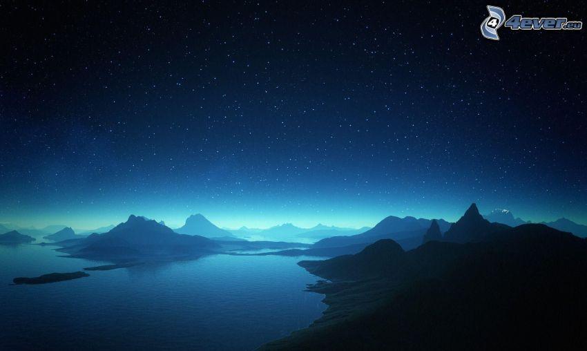 natthimmel, stjärnor, vik, kullar