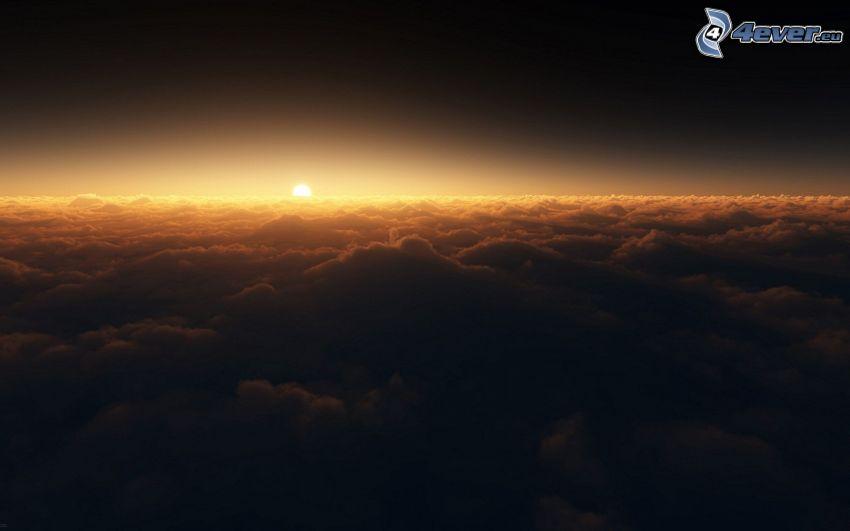 ovanför molnen, soluppgång