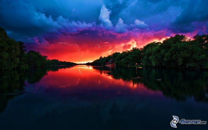 röd himmel, flod, lugn vattenyta, skog