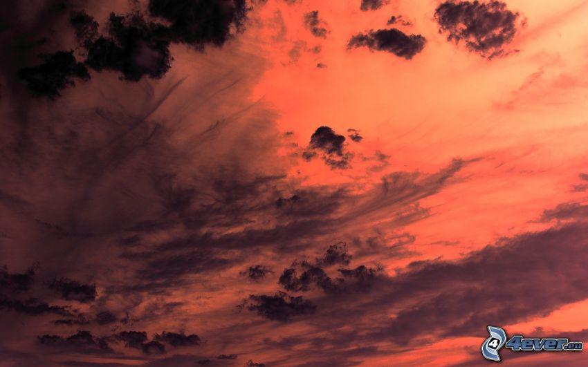 röd himmel, moln