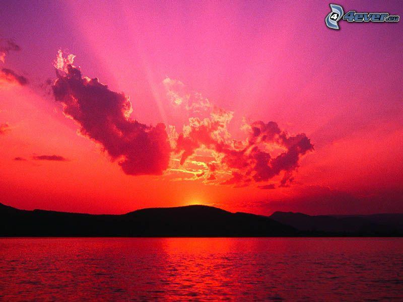 röd solnedgång, himmel, hav