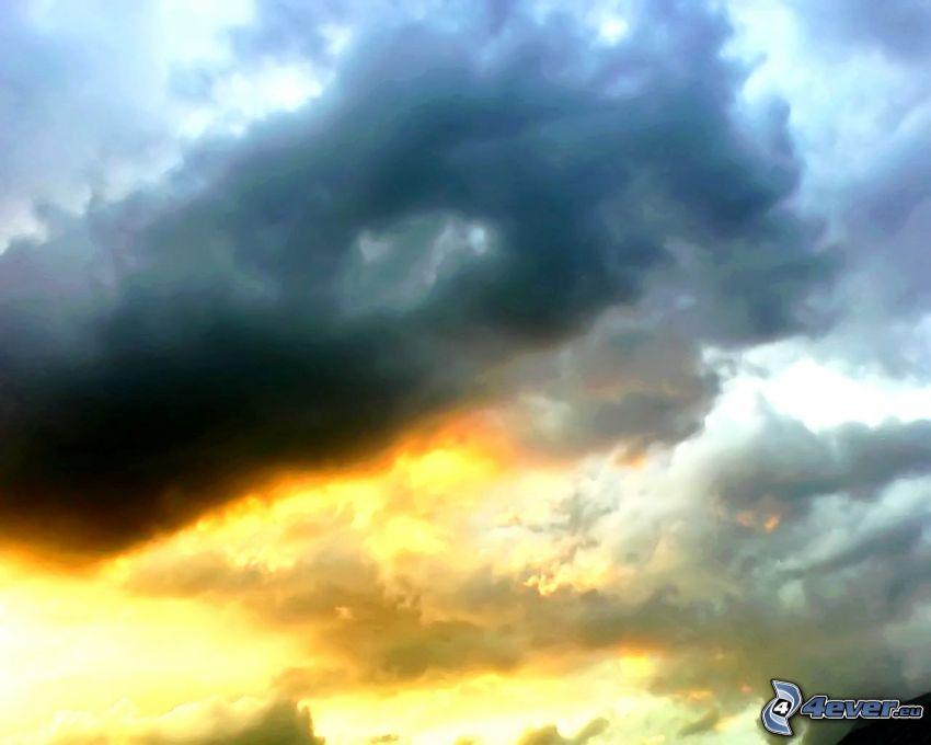 sol, moln, himmel