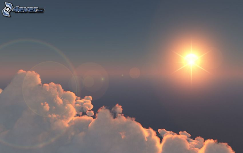 sol, ovanför molnen