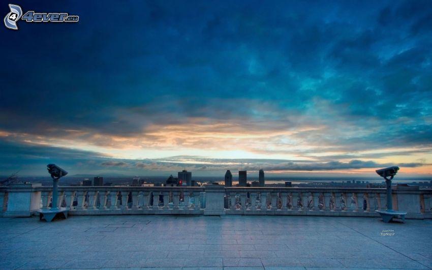 solnedgång, moln, terrass