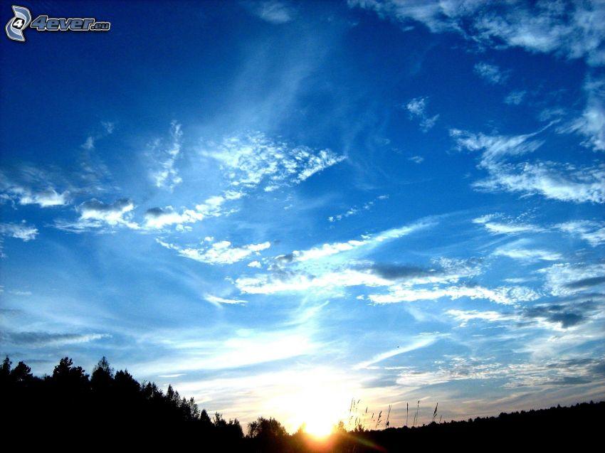 solnedgång, moln
