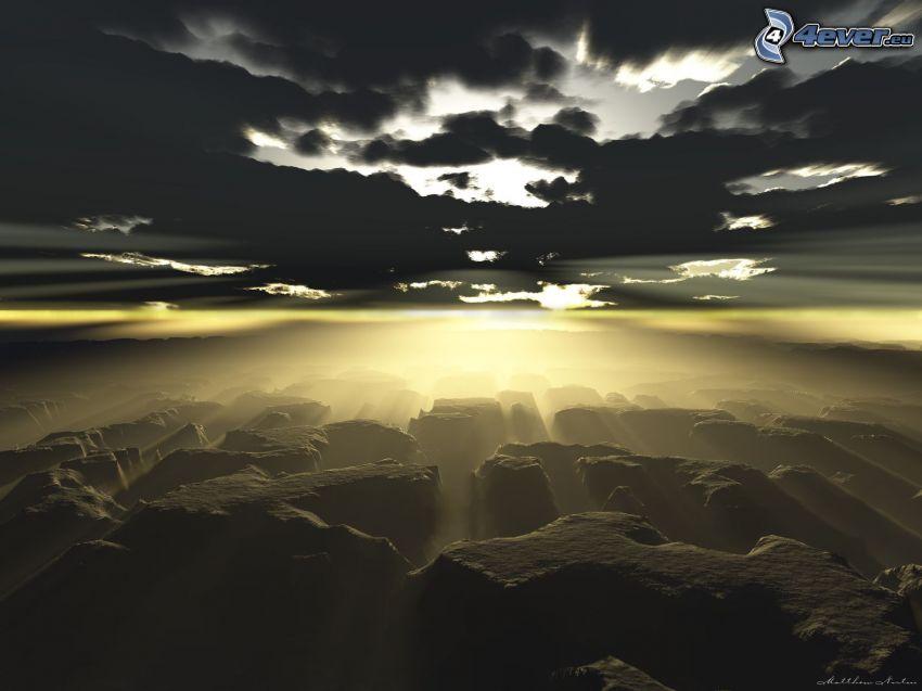 solstrålar bakom moln, digitalt bergslandskap