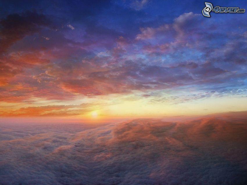 soluppgång, moln