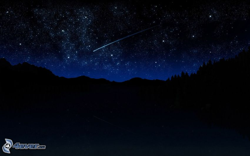 stjärnhimmel, stjärnfall, natt