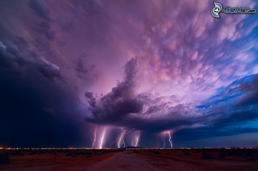 storm, blixt, fältstig
