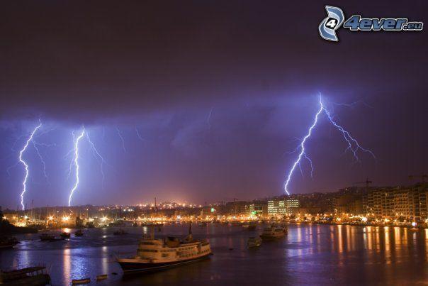 storm, himmel, båt, hav