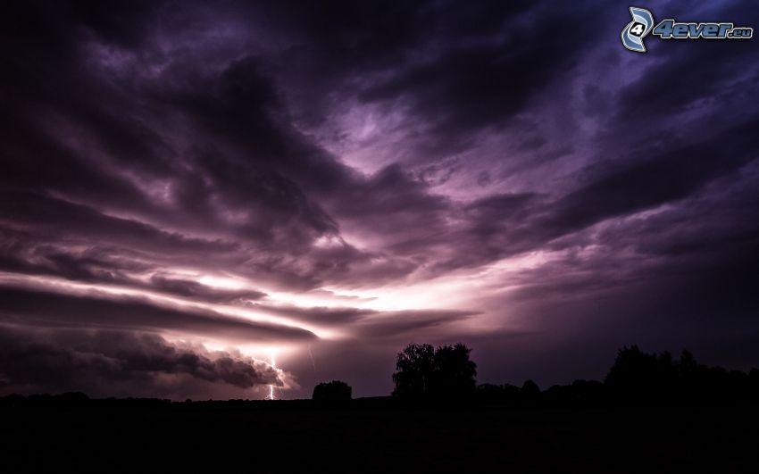 stormmoln, blixt, siluetter av träd