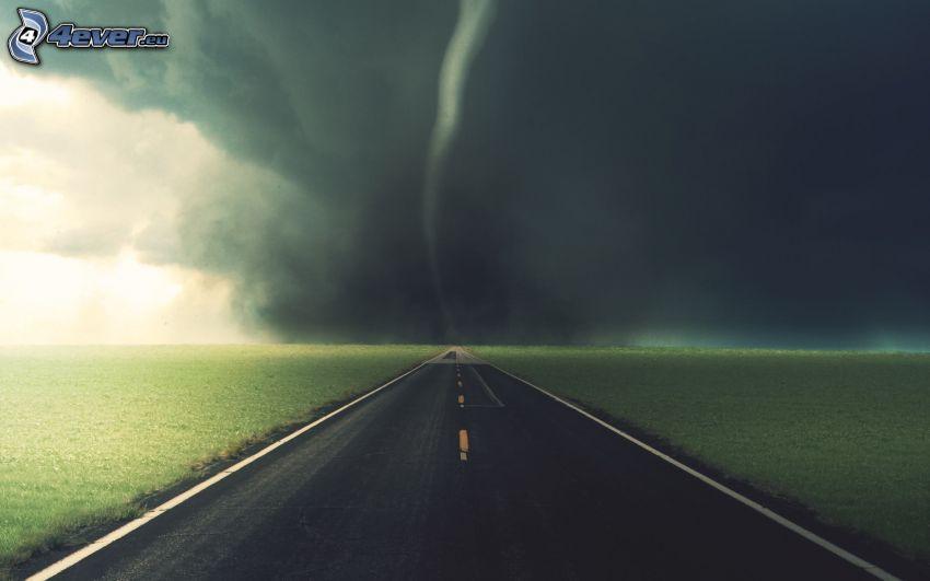 tornado, rak väg
