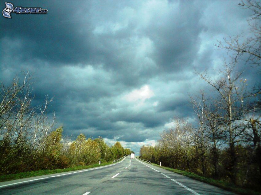 väg, lastbil, himmel, storm, mörka moln