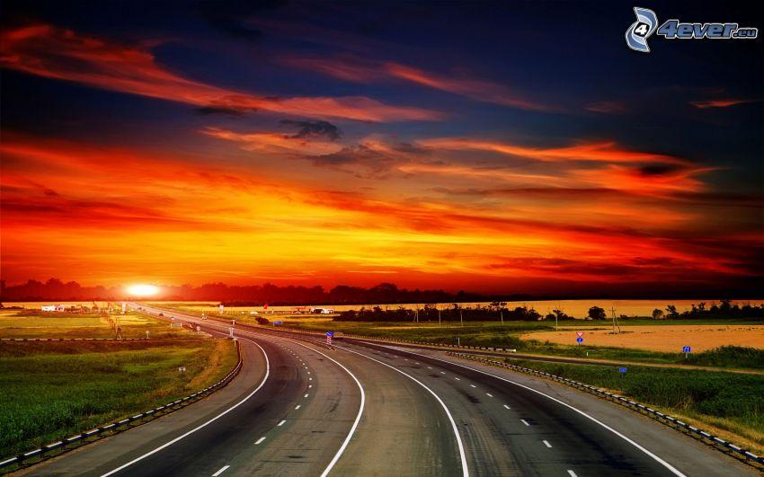 väg, orange solnedgång