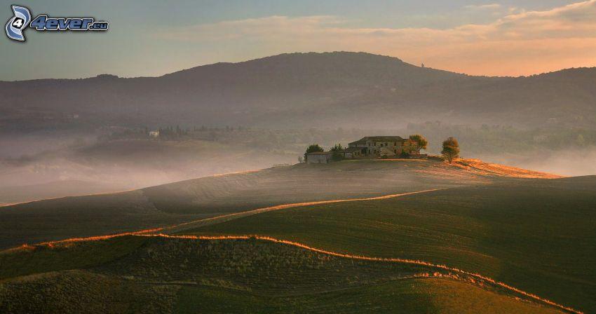 hus, fält, markdimma, kullar, kväll