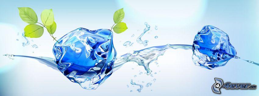 isbitar, vatten, gröna blad