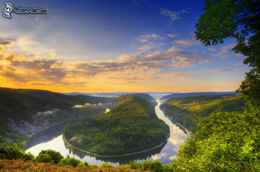 kanjon, flod, soluppgång