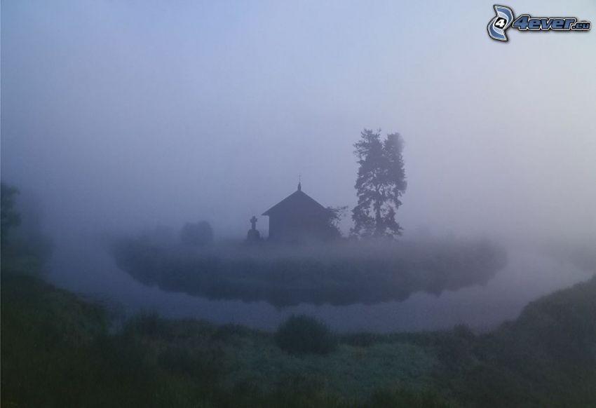 kapell, bäck, dimma, träd