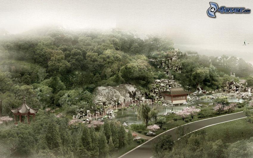 Kina, väg, träd, dimma