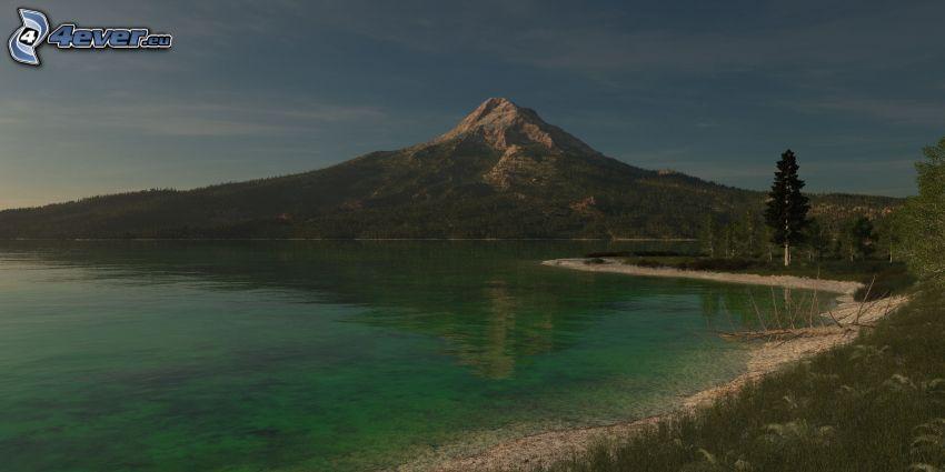klippigt berg, sjö