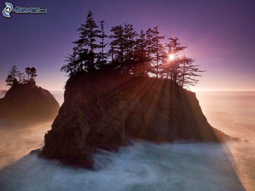 klippö, siluetter av träd, solnedgång bakom ö